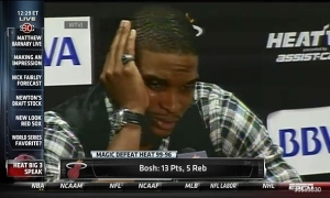 This image of Chris Bosh from a few days ago was long forgotten tonight. Do not expect to see another Bosh press conference like this anytime soon.